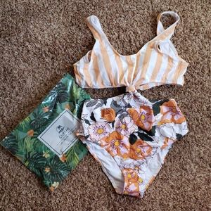 Orange Striped and Floral Cut-Out One Piece